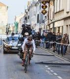 Den cyklistBouet Maxime Paris Nice prologen 2013 i Houilles Arkivfoto