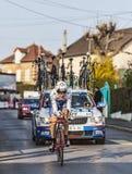 Den cyklistJérémy Roy Paris Nice prologen 2013 i Houilles Arkivfoton