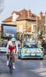 Den cyklistJakob Fuglsang- Paris Nice prologen 2013 i Houilles Arkivbild