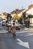 Den cyklistJean Christophe Péraud- Paris Nice prologen 2013 in Arkivbilder