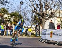 Den cyklistKeukeleire Jens Paris Nice prologen 2013 i Houille Fotografering för Bildbyråer