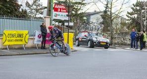 Den cyklistLaurens tio fördämningen - Paris-Nice 2016 Arkivbilder