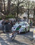 Den cyklistSimon Julien- Paris Nice prologen 2013 Arkivfoto