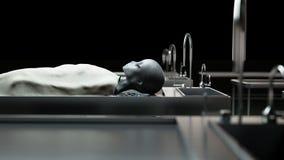 Den döda främlingen i bårhuset på tabellen Futuristiskt obduktionbegrepp framförande 3d Fotografering för Bildbyråer