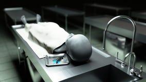 Den döda främlingen i bårhuset på tabellen Futuristiskt obduktionbegrepp framförande 3d Arkivbilder