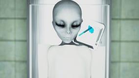 Den döda främlingen i bårhuset på tabellen Futuristiskt obduktionbegrepp framförande 3d Arkivfoton