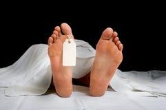 Den döda kroppen för kvinna` s med den tomma etiketten på fot arkivbilder