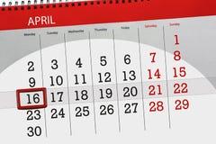 Den dagliga affärskalendersidan 2018 April 16 Arkivbild