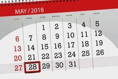 Den dagliga affärskalendersidan 2018 Maj 28 Royaltyfria Foton