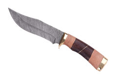 den damascus handtagkniven gjorde st trä Arkivbild