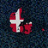 Den Danmark översiktsflaggan förhäxer på kodillustrationen royaltyfri illustrationer