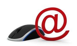 Den datormusen och e-posten undertecknar Arkivfoton