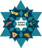 Den David stjärnan med anmärker av judisk ferie Royaltyfri Foto