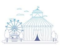 Den degraderade linjen rolig cirkus med karneval shoppar och lekar royaltyfri illustrationer
