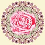 Den dekorativa cirkelmodellen med vattenfärgen steg Royaltyfri Foto