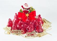 Den dekorativa julen sätta en klocka på Royaltyfri Fotografi
