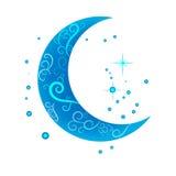 Den dekorativa månen på en vit bakgrund Arkivfoton