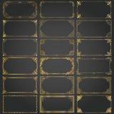 Den dekorativa rektangeln inramar, och gränser ställer in vektorn guld- Royaltyfri Foto
