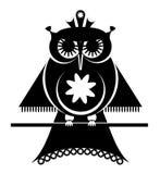 Den dekorativa ugglan sitter på en filial, pictogramen, vektorillustrationen, isolerad svart på vit bakgrund stock illustrationer