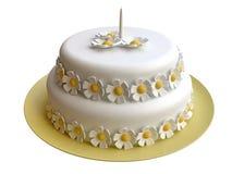 den dekorerade födelsedagcaken blommar marsipaner royaltyfri illustrationer