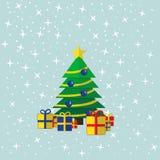 Den dekorerade julgranen med gåvorna royaltyfri illustrationer