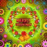 Den dekorerade kransen för glad jul semestrar berömbakgrund Arkivbilder