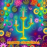 Den dekorerade stearinljuset för glad jul semestrar berömbakgrund Royaltyfria Foton