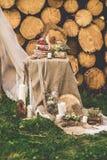 Den dekorerade tabellen för två dekorerade med blom- sammansättningsträbakgrund Royaltyfri Bild