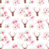 Den delikata sömlösa vektorn för för magnoliablommor och hjortar skrivar ut Royaltyfri Fotografi
