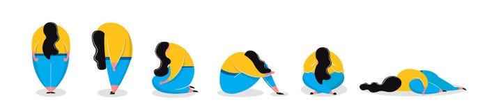 Den deprimerade flickan i olikt poserar ligga för sammanträde för ledsen kvinna stående vektor illustrationer