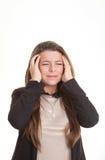 Den deprimerade kvinnan med huvudvärk eller smärtar royaltyfria foton