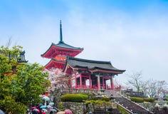 den deraarvjapan kiyomizuen kyoto listade tempelunesco-världen Royaltyfri Fotografi