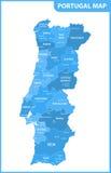 Den detaljerade översikten av Portugal med regioner eller tillstånd och städer, huvudstäder stock illustrationer