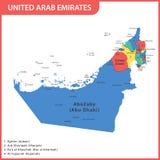 Den detaljerade översikten av UAE med regioner eller tillstånd och städer, huvudstäder förenade arabiska emirates stock illustrationer