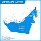 Den detaljerade översikten av UAE med regioner eller tillstånd och städer, huvudstäder förenade arabiska emirates royaltyfri illustrationer