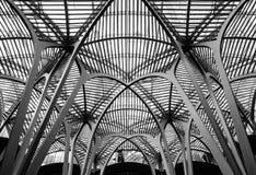 Den detaljerade sikten av ett vidsträckt, belägger med metall strukturen och taket sedda täckande gamla byggnader Royaltyfria Bilder