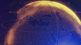 Den Digital apelsinen shinny jordklotet av jord Rotation av den glansiga planeten med glödande partiklar animering 3D av utrymme  stock illustrationer