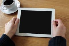 Den Digital tableten med tomt avskärmer royaltyfri bild
