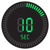 Den digitala tidmätaren 10 sekunder elektronisk stoppur med symbol för vektor för lutningvisartavla en startande, klocka och kloc stock illustrationer