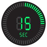 Den digitala tidmätaren 15 sekunder elektronisk stoppur med symbol för vektor för lutningvisartavla en startande, klocka och kloc stock illustrationer