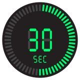 Den digitala tidmätaren 30 sekunder elektronisk stoppur med symbol för vektor för lutningvisartavla en startande, klocka och kloc stock illustrationer