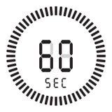 Den digitala tidmätaren 60 sekunder, 1 minut elektronisk stoppur med symbol för vektor för lutningvisartavla en startande, klocka stock illustrationer