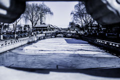 Den djupfrysta Shichahaien i Peking, Kina Arkivfoto