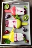 Den djupfrysta yoghurten poppar med bär Royaltyfri Bild