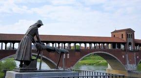 Den dolda Pavia bron i Italien royaltyfri bild