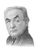Den Dominique Strauss Khan karikatyren skissar Arkivfoto