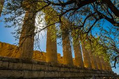 Den doriska kolonnaden av fördärvar gammalgrekiskatemplet av Juno, gammal arkitektur Agrigento, Sicilien, Italien fotografering för bildbyråer