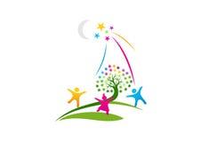 Den dröm- logoen, ett symbol av livet av fantasin, hoppas framgången av framtida designbegrepp Royaltyfri Bild