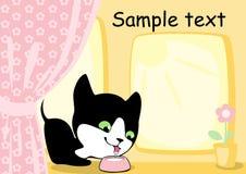 den dricka kattungen mjölkar Arkivfoto