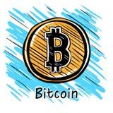 Den drog Bitcoin handen skissar Royaltyfria Bilder